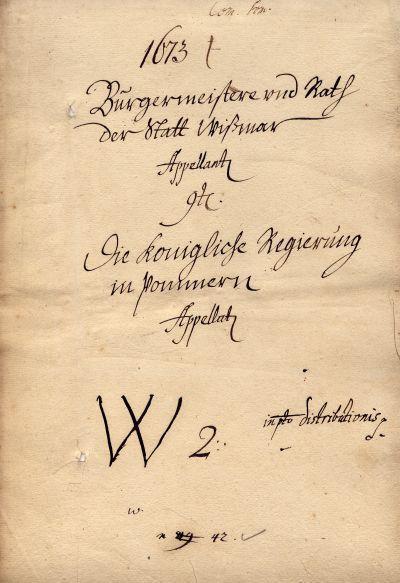 Deckblatt einer Tribunalakte