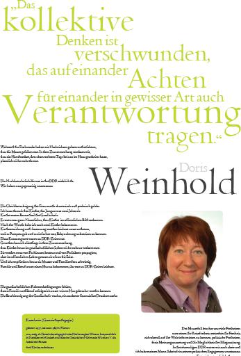 Porträt von Doris Weinhold im Rahmen der Ausstellung