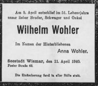 Todesanzeige Wohler