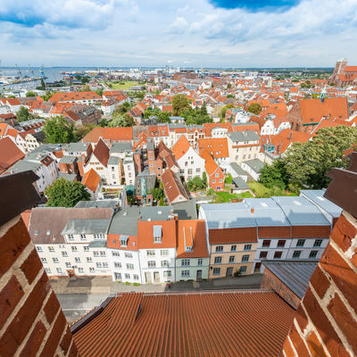 Gable houses facades in Wismar, Germany.